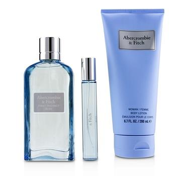 Abercrombie & Fitch First Instinct Blue Coffret: Eau De Parfum Spray 100ml/3.4oz + Body Lotion 200ml/6.7oz + Eau De Parfum Spray 15ml/0.5oz 3pcs Ladies Fragrance