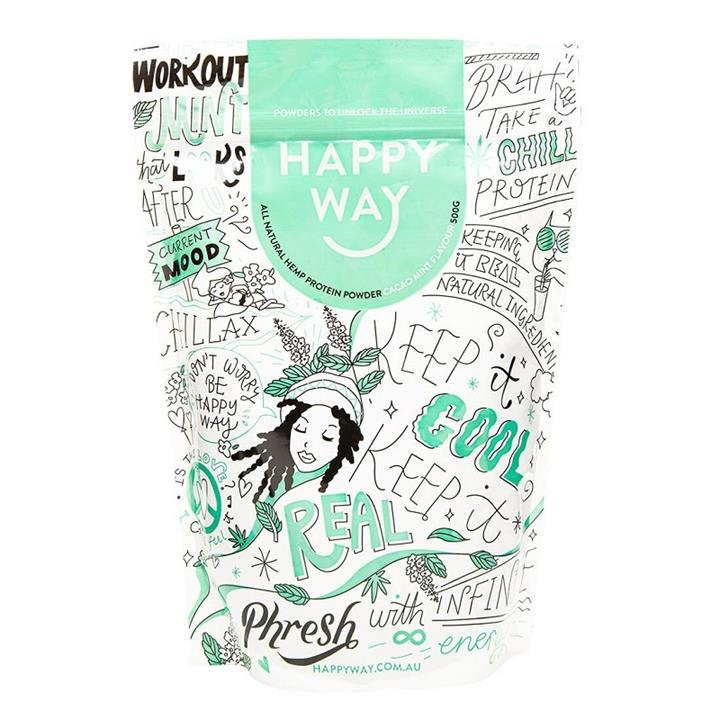 Happy Way Hemp Protein Powder Vegan Cacao Mint 500g