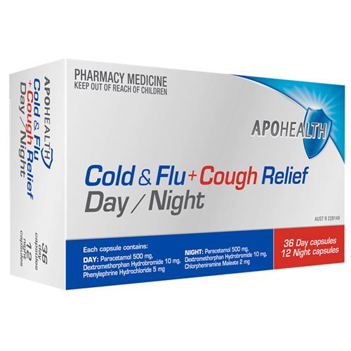 ApoHealth Cold & Flu + Cough Relief Day/Night Cap X 48