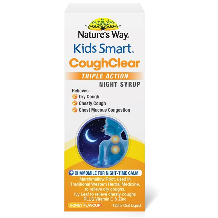 Nature's Way Kids Smart Cough Clear Triple Action Night Syrup 120ml