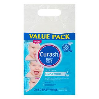 Curash Water Wipes 80 x 3
