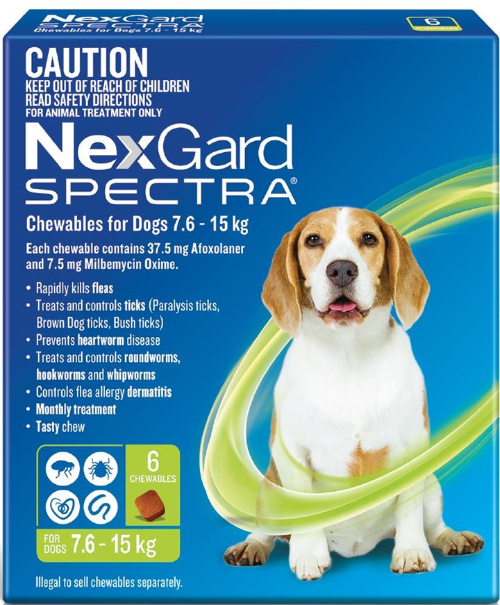 NexGard Spectra Chewables For Medium Dogs (7.6 to 15kg) X 6