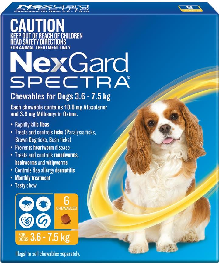 NexGard Spectra Chewables For Small Dogs (3.6 to 7.5kg) X 6