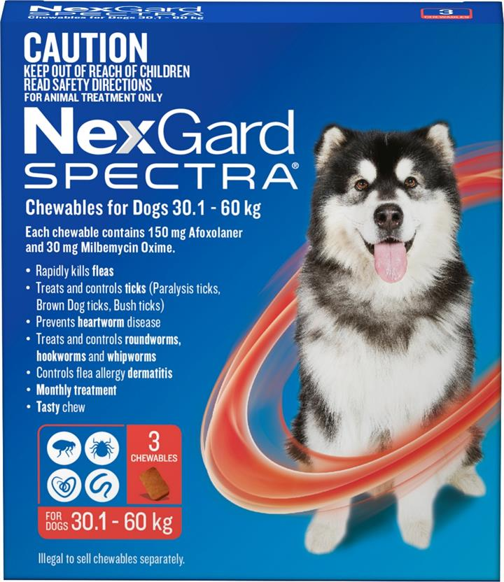 NexGard Spectra Chewables For Extra Large Dogs (30.1 to 60kg) X 3