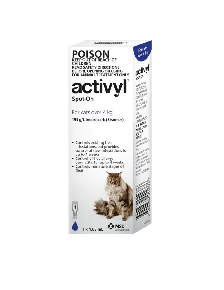 Activyl Spot-On For Cats (Over 4kg) 1.03ml X 6
