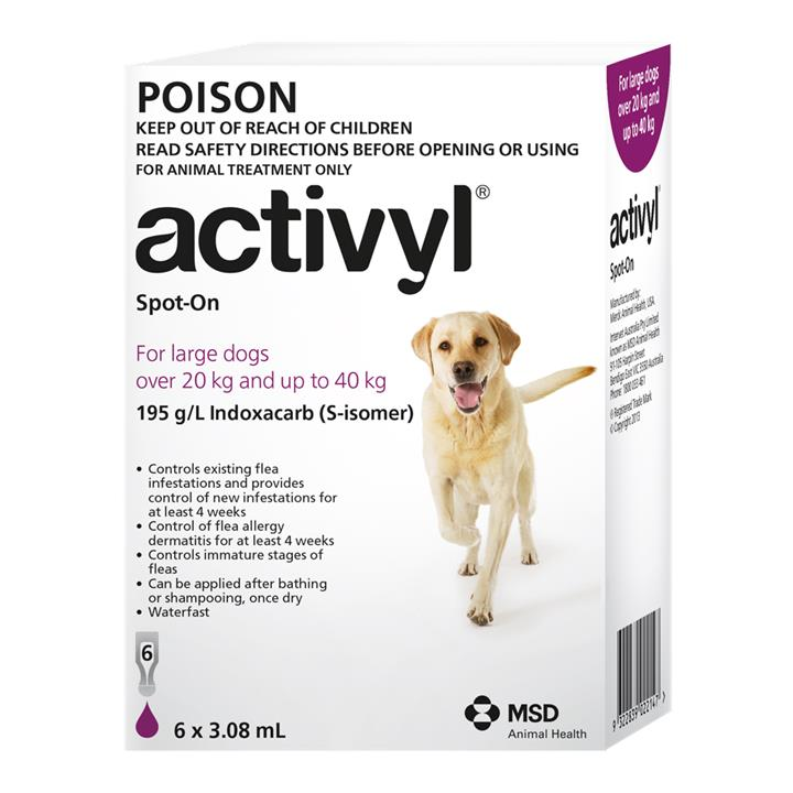 Activyl Spot-On For Large Dogs (20 to 40kg) 3.08ml X 6