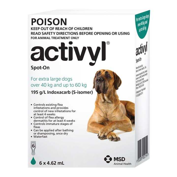Activyl Spot-On For Extra Large Dogs (40 to 60kg) 4.62ml X 6