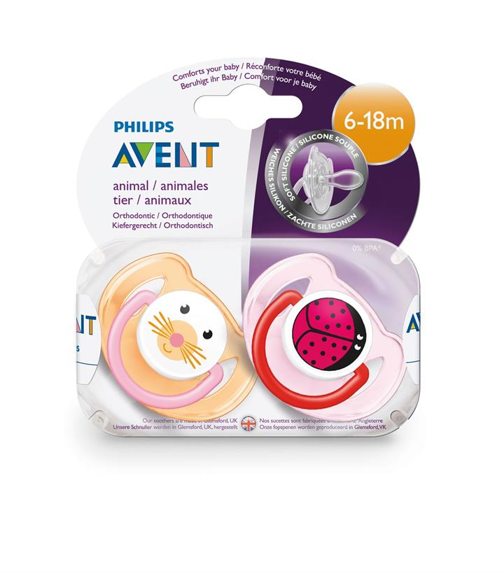 Avent Animal Soother (Girls or Boys) 6-18mths