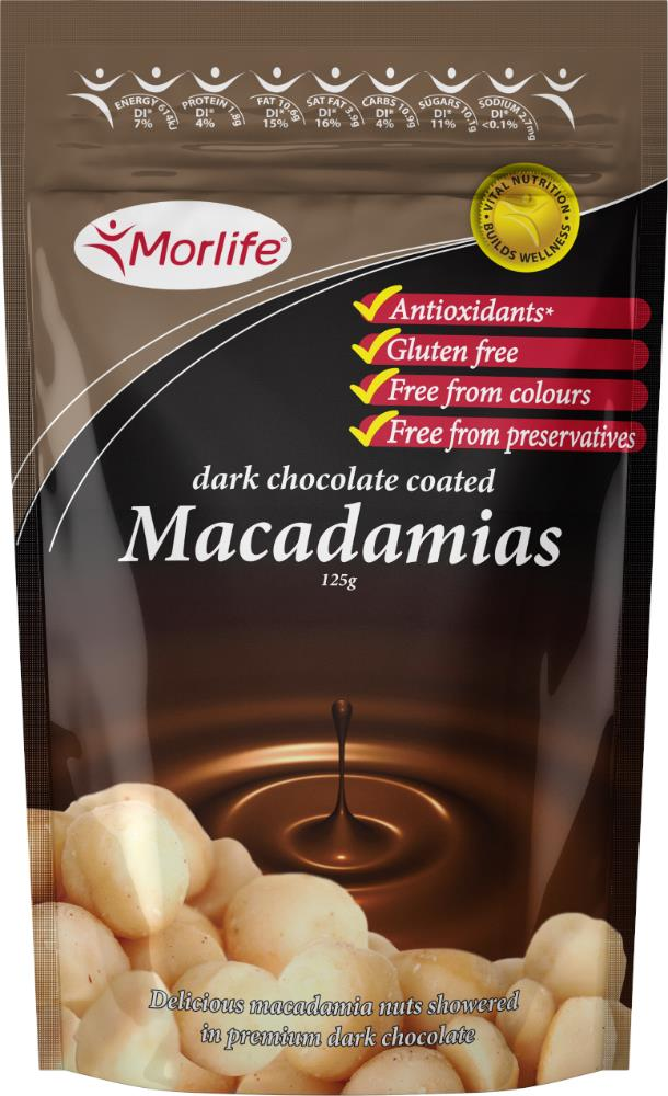 Morlife Chocolate Macadamia Nuts 125g