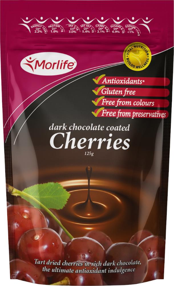 Morlife Chocolate Cherries 125g