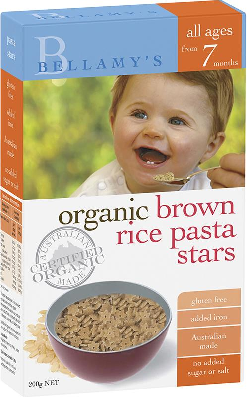 Bellamy's Organic Brown Rice Pasta Stars 200g