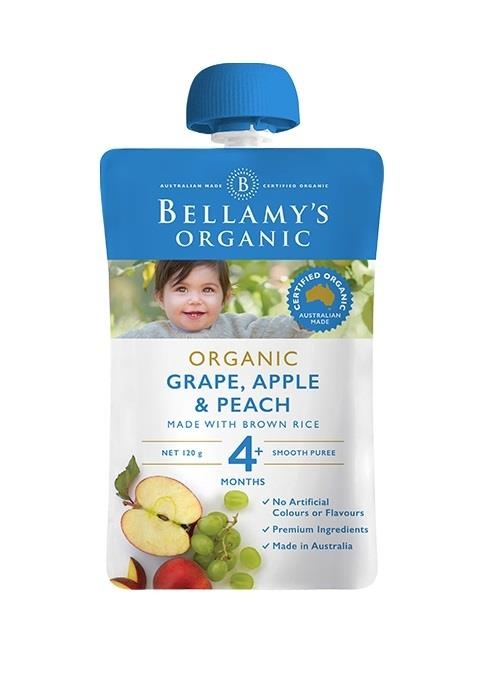 Bellamy's Organic Grape, Apple & Peach 120g