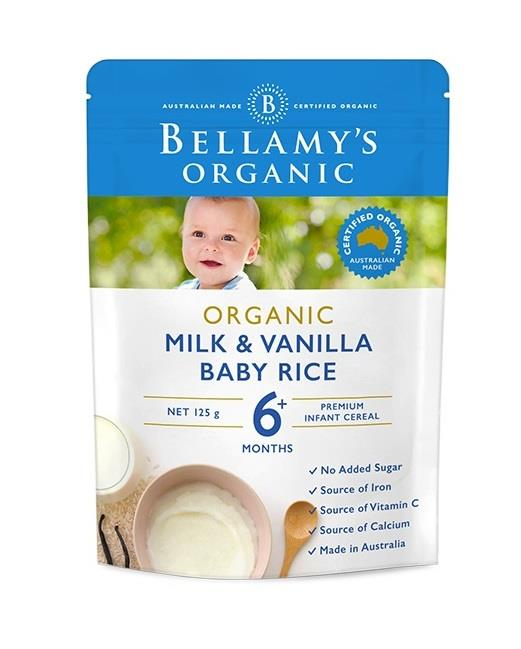 Bellamy's Organic Milk & Vanilla Baby Rice 125g (Limit 2 per order)
