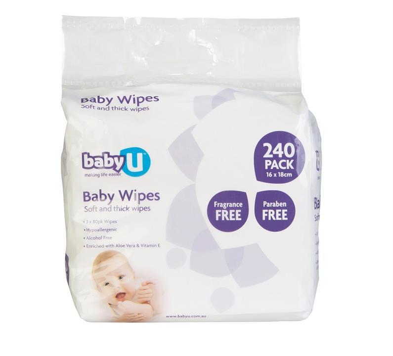 babyU Baby Wipes Fragrance Free X 240
