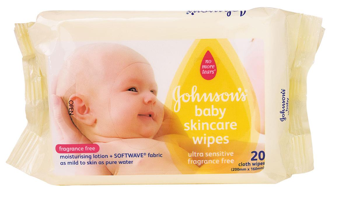 Johnson's Baby Skincare Wipes Fragrance Free X 20