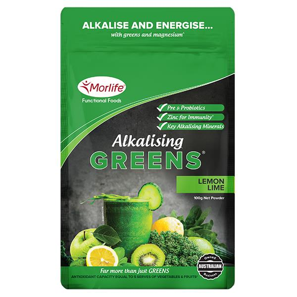 Morlife Alkalising Greens (Lemon Lime) 100g