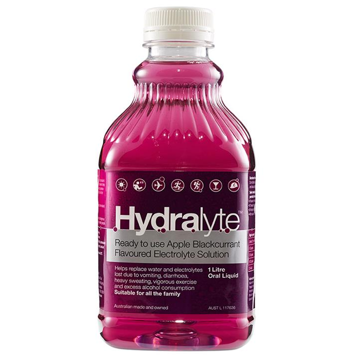 Hydralyte Electrolyte Solution Apple/Blackcurrant Flavoured 1 Litre