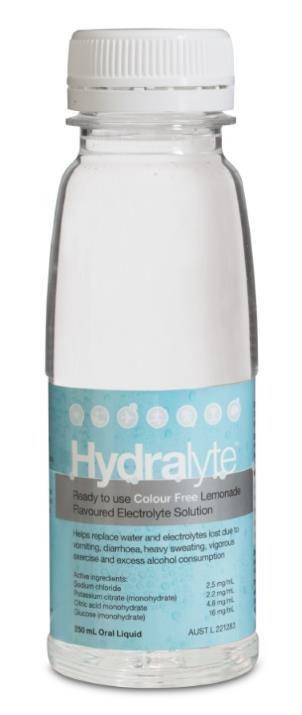 Hydralyte Electrolyte Solution Colour Free Lemonade Flavoured 250ml
