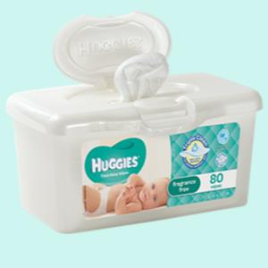 Huggies Baby Wipes Tub Fragrance Free X 80