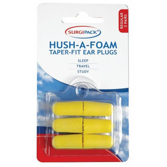 Surgi Pack Hush-A-Foam Taper-Fit Ear Plugs X 3 Pairs