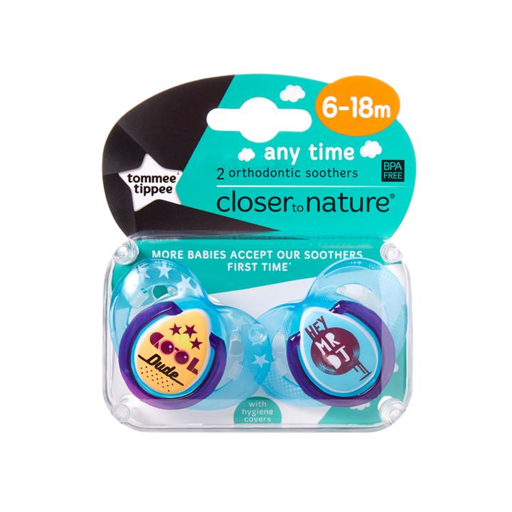Tommee Tippee CTN Any Time Soother 6 to 18 Months X 2 (Assorted Designs/Colours)