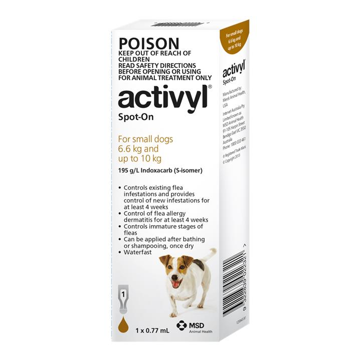Activyl Spot-On For Small Dogs (6.6 to 10kg) 0.77ml X 1