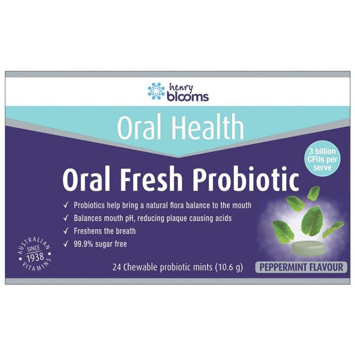 Henry Blooms Oral Fresh Probiotic Peppermint Flavour Chewable Tab X 24