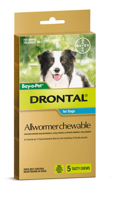 Drontal Allwormer Chewable for Dogs 10kg X 5