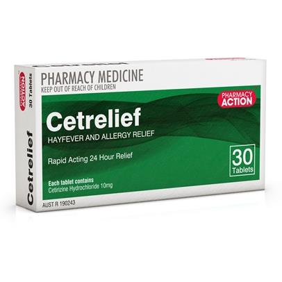 Cetrelief 10mg Tab X 30 (Generic for ZYRTEC)
