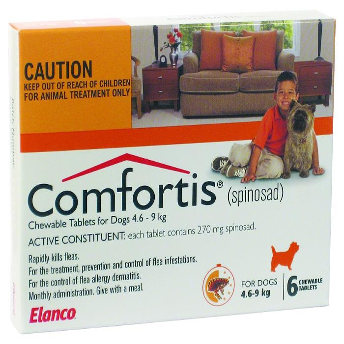 Comfortis Chewable Tab for Dogs 4.6 – 9 kg (Orange) X 6