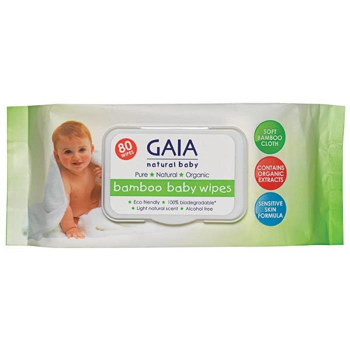 Gaia Bamboo Baby Wipes X 80