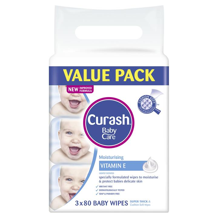 Curash Baby Wipes Soap Free X 80 X 3