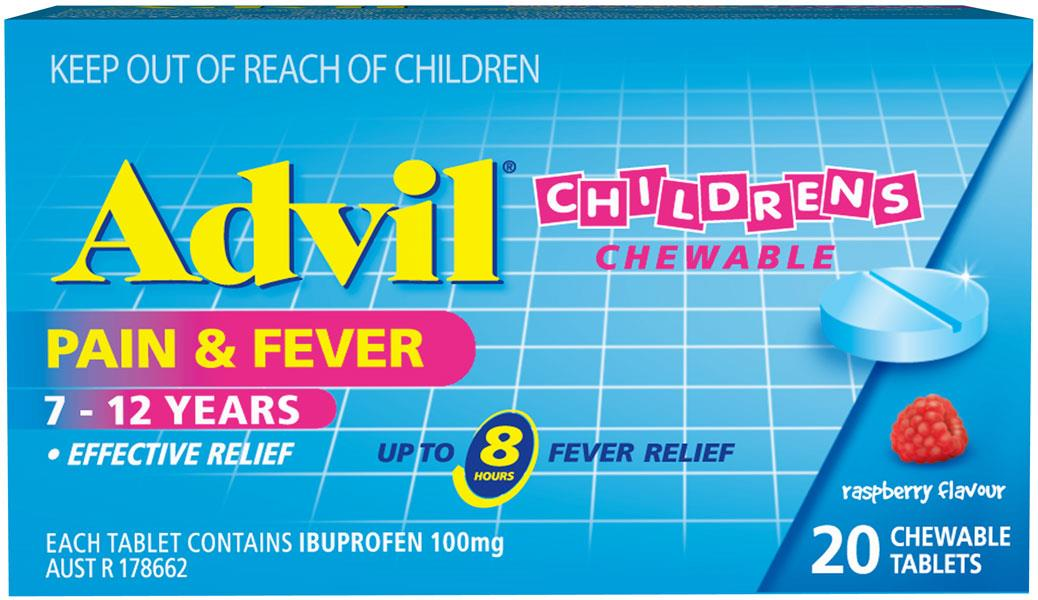 Advil Children's Chewable 7-12 Years Tab X 20 (Alternative to Nurofen)