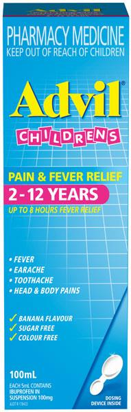 Advil Children's Pain & Fever Relief 2-12 Years 100ml (Alternative to Nurofen)