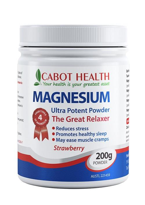 Cabot Health Magnesium Powder Ultra Strawberry 200g