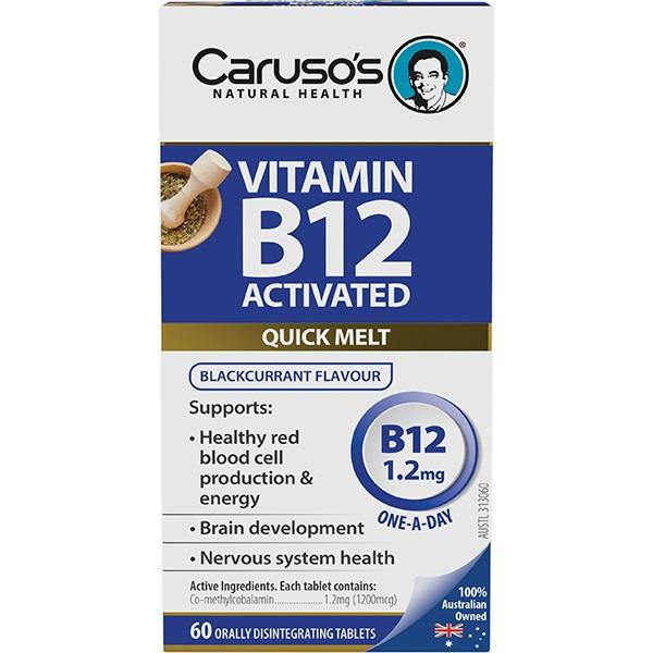 Caruso's Vitamin B12 Activated 1.2mg Quick Melt Tab X 60