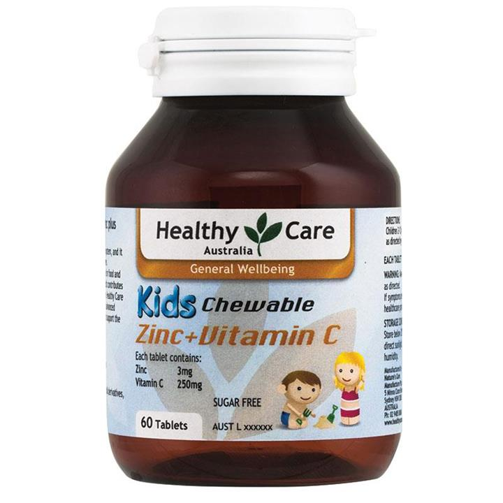 Healthy Care Kids Zinc + Vitamin C Chewable Tab X 60