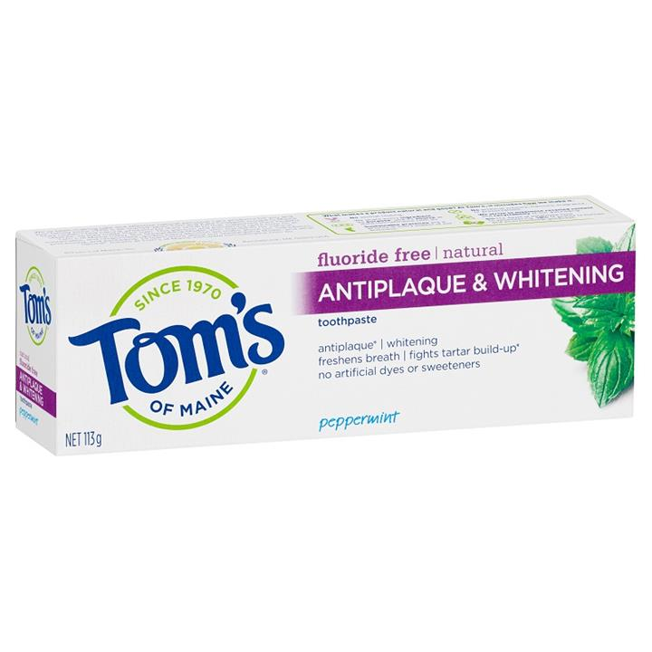 Tom's of Maine Toothpaste Natural Fluoride Free Antiplaque & Whitening – Peppermint 113g