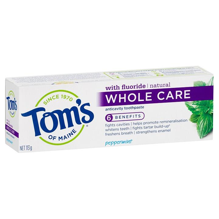 Tom's of Maine Toothpaste Natural with Fluoride Whole Care Anticavity – Peppermint 113g