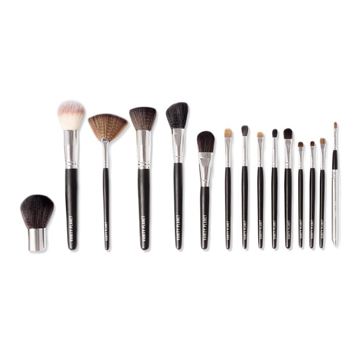 Vanity Planet 15pc Professional & Portable Makeup Brush Collection Midnight Black