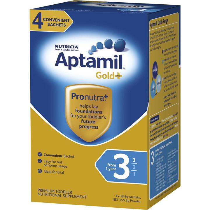 Aptamil Gold Plus 3 Toddler Formula (From 1 Year) Sachets 38.8g