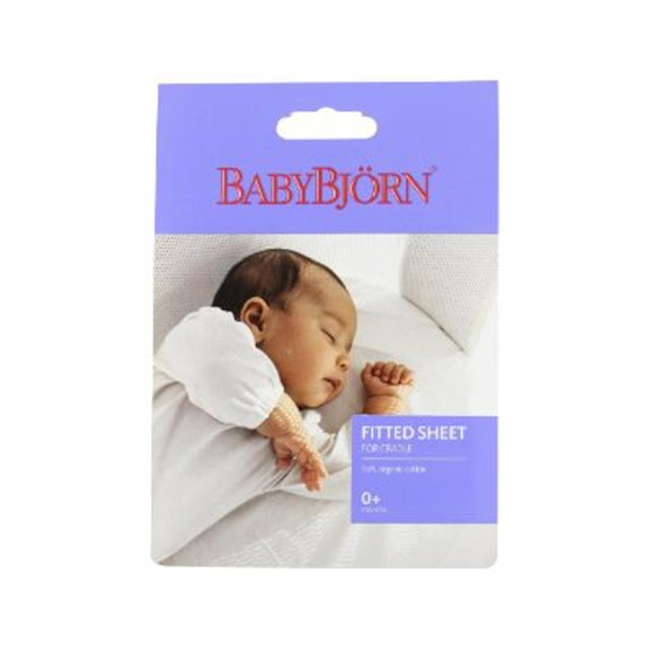 BabyBjorn Fitted Sheet For Cradle (Natural White Organic)
