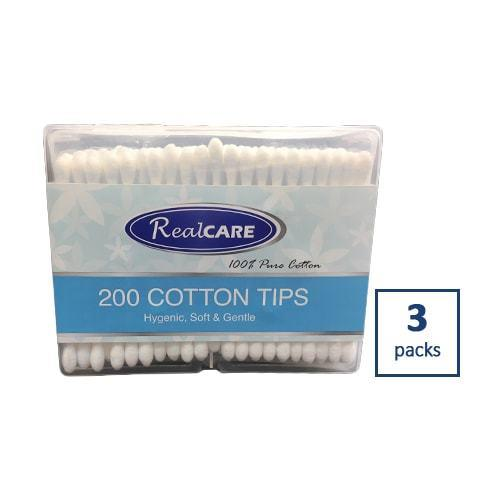 3x Real Care Cotton Tips Top 200pk