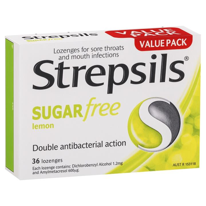 Strepsils Sugar Free Sore Throat Antibacterial Lozenges (Lemon) X 36